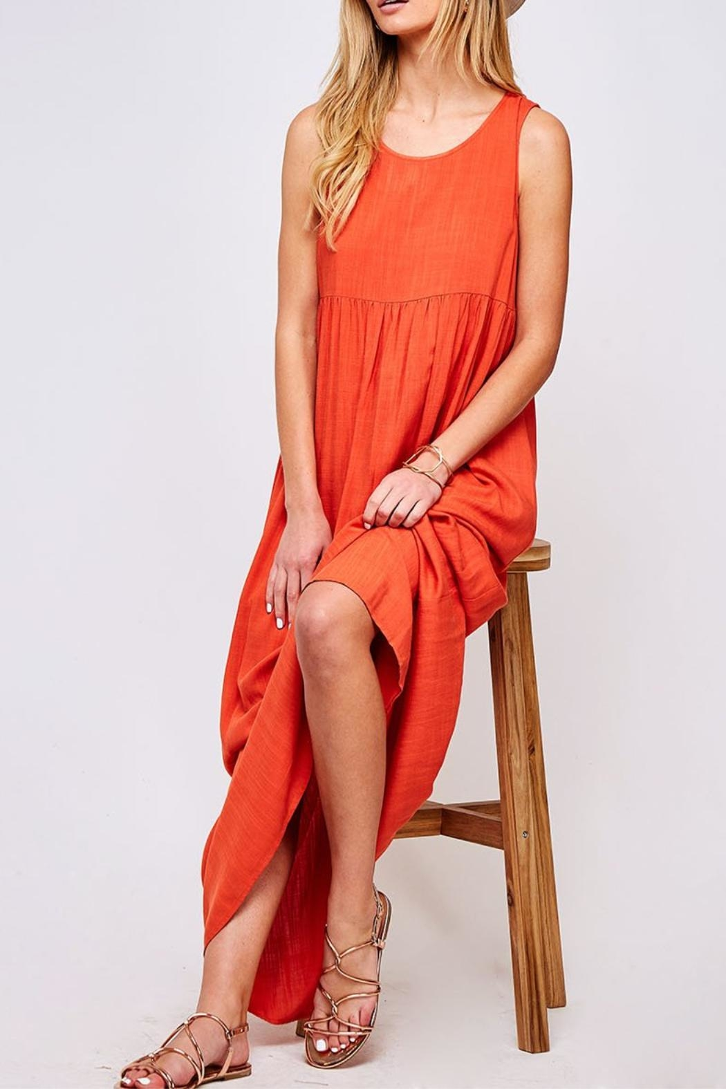 Peach Love California Solid Maxi Dress - Front Cropped Image