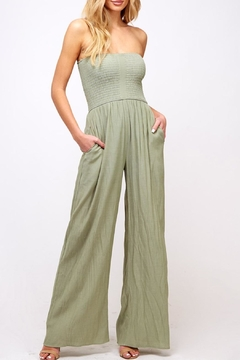 Peach Love California Strapless Smocked Jumpsuit - Product List Image