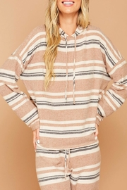 Peach Love California Striped Hoodie Top - Product Mini Image