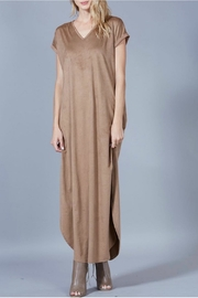 Peach Love California Suede Maxi Dress - Front cropped