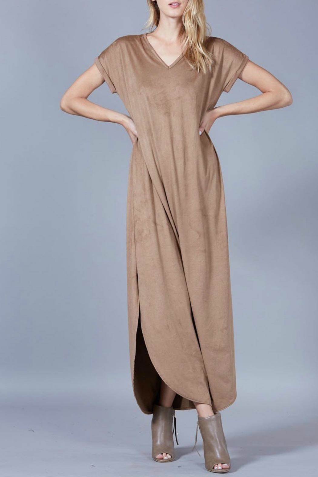 Peach Love California Suede Maxi Dress - Front Full Image