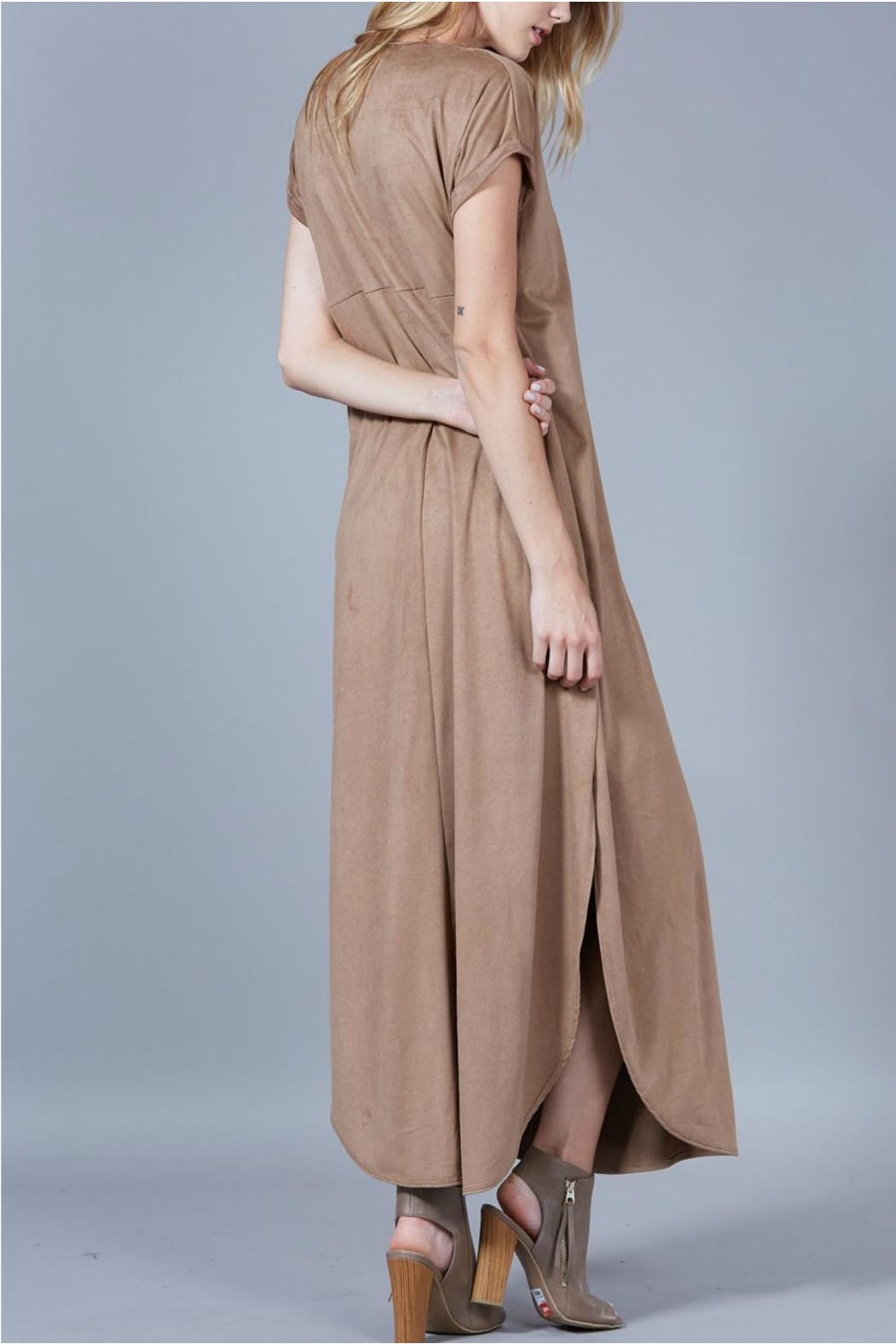 Peach Love California Suede Maxi Dress - Side Cropped Image