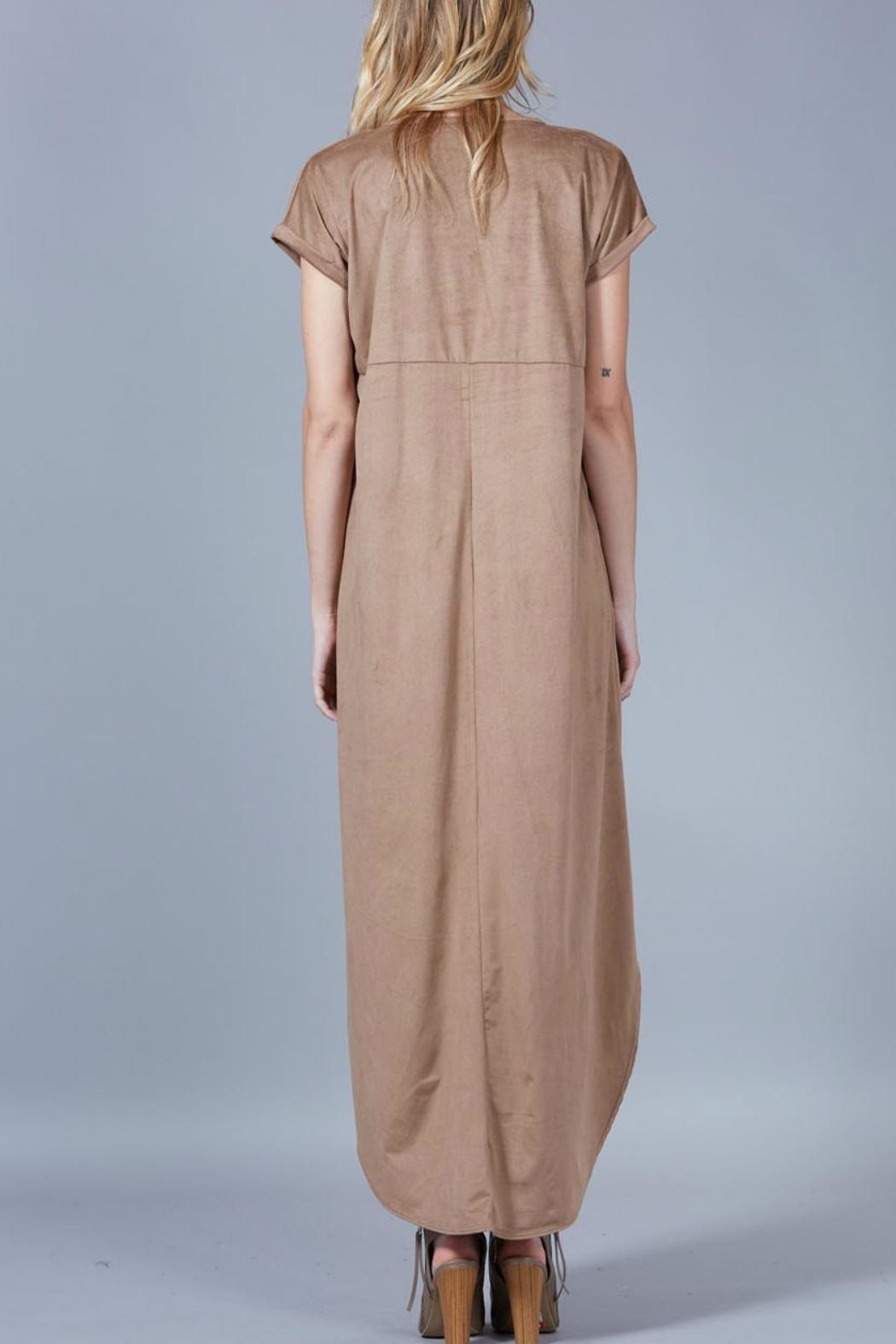 Peach Love California Suede Maxi Dress - Back Cropped Image