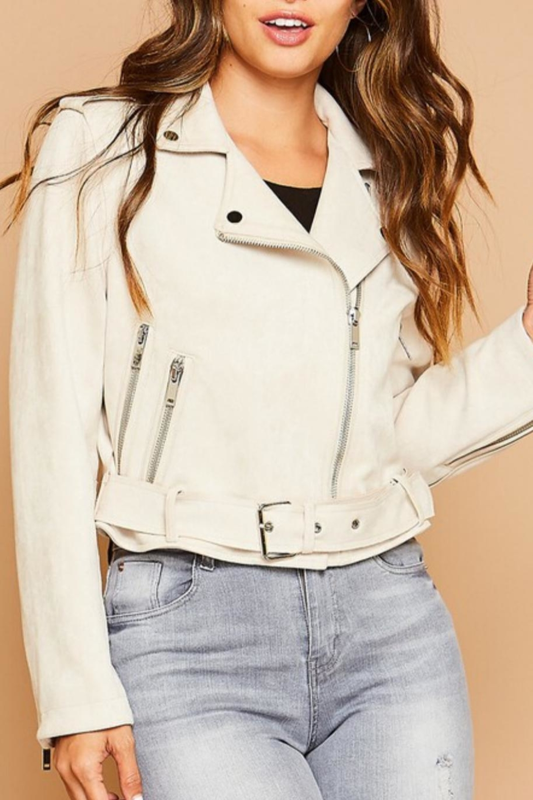 Peach Love California Suedette Moto Jacket - Front Cropped Image
