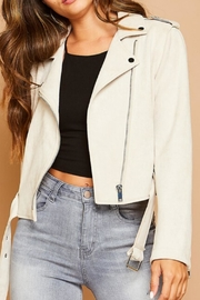 Peach Love California Suedette Moto Jacket - Side cropped