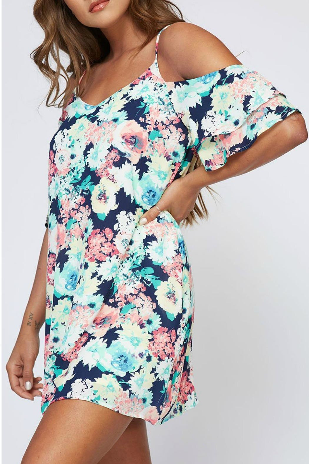 Peach Love California Veronica Floral Dress - Side Cropped Image