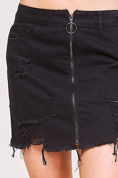 Peach Love California Zipper Front Distressed Denim Skirt - Alternate List Image
