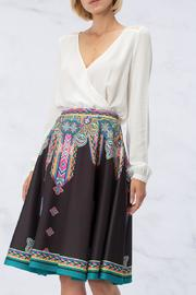 peach puff Patterned Circle Skirt - Front full body