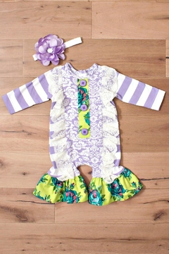 Peaches & Cream Girls Romper W/headband - Alternate List Image