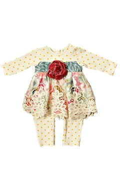 Peaches 'N Cream Floral-Silhouette Skirted Romper - Product List Image