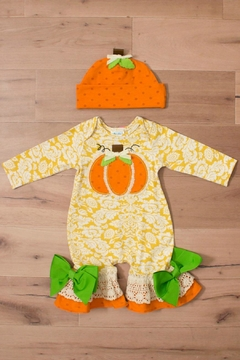 Peaches 'N Cream Harvest Pumpkin Romper - Alternate List Image