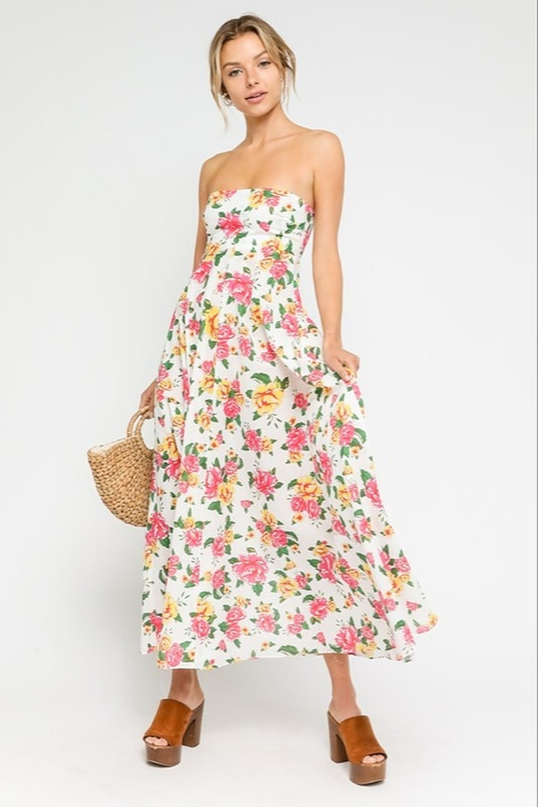 Olivaceous  Peachy Keen Maxi Dress - Front Cropped Image