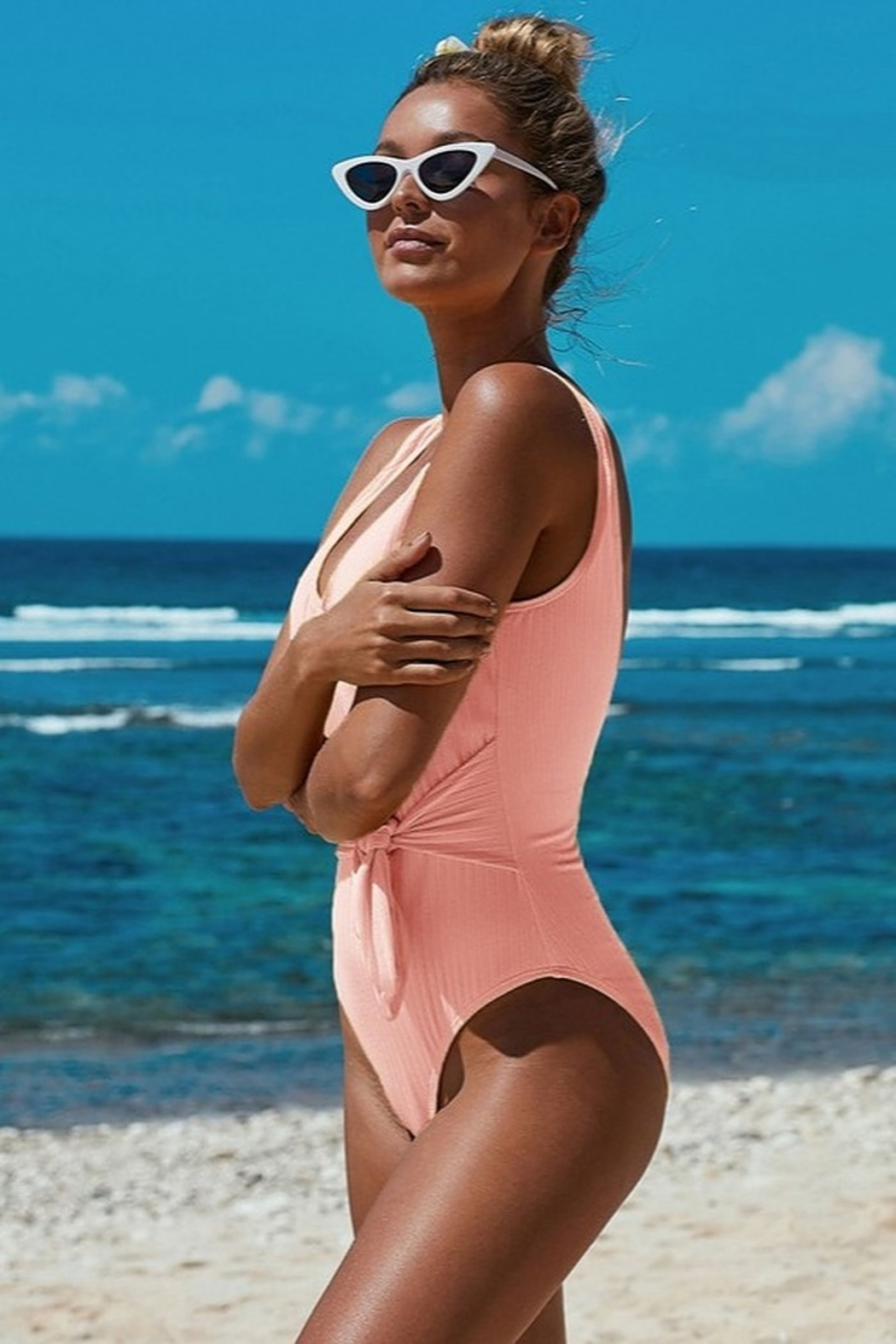 Shiying  Peachy Keen One Piece - Front Full Image