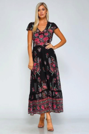 Elysium Peacock Cap Sleeve Maxi - Front cropped
