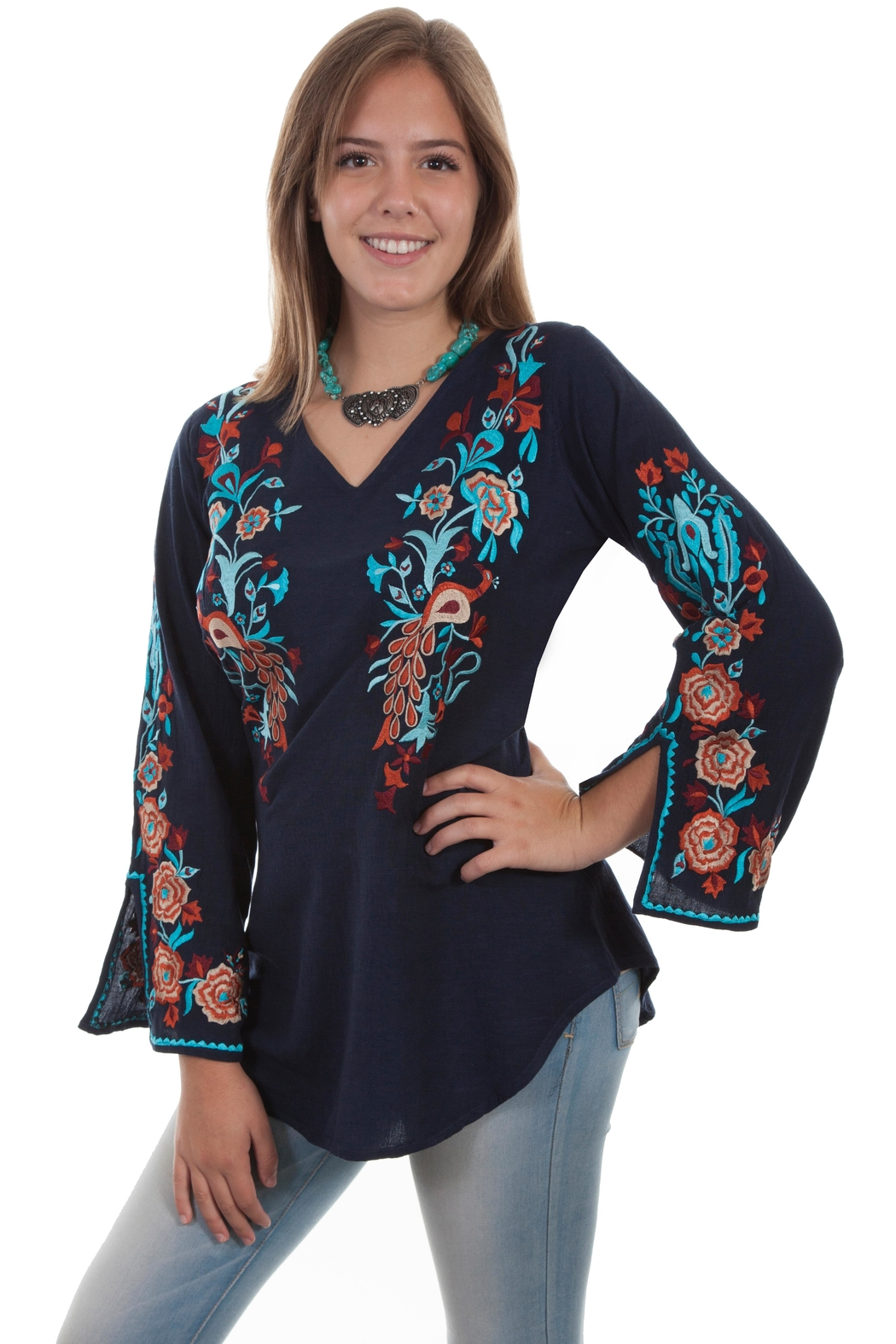 Scully Peacock Embroidered Blouse - Main Image