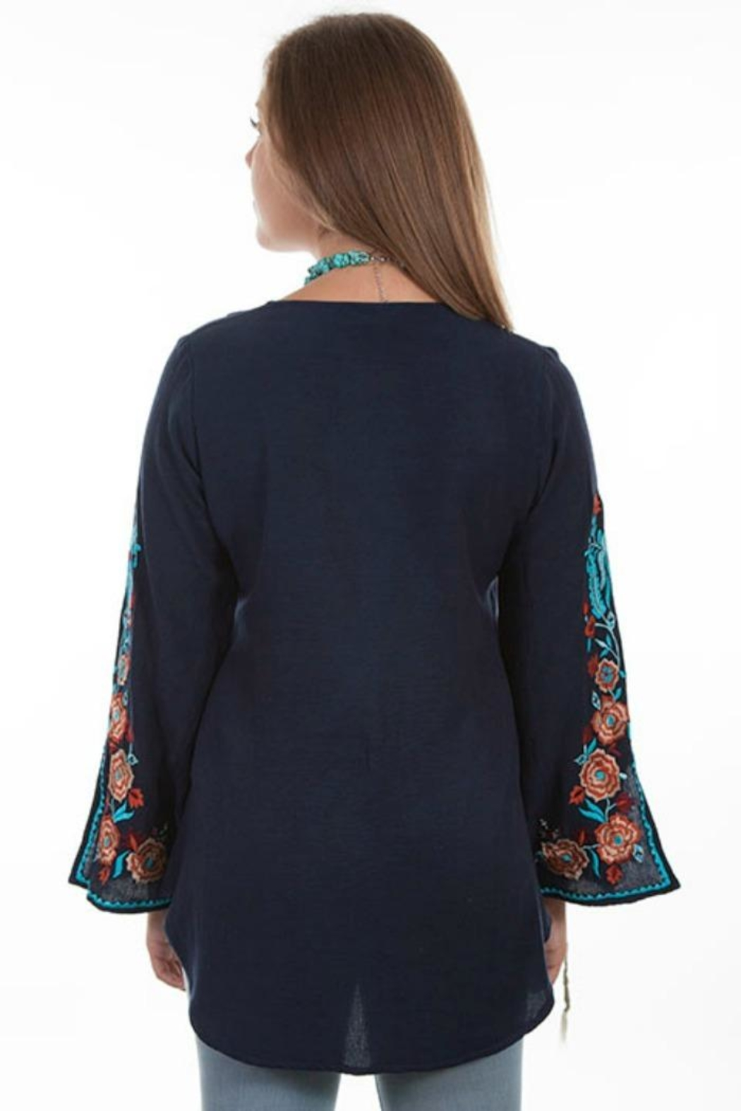 Scully Peacock Embroidered Blouse - Front Full Image