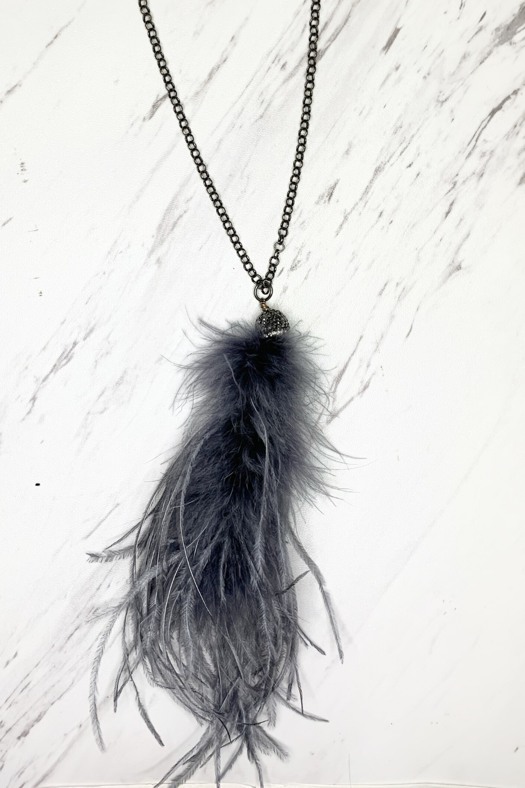 Deux Amies Peacock Feather Long Necklace - Main Image