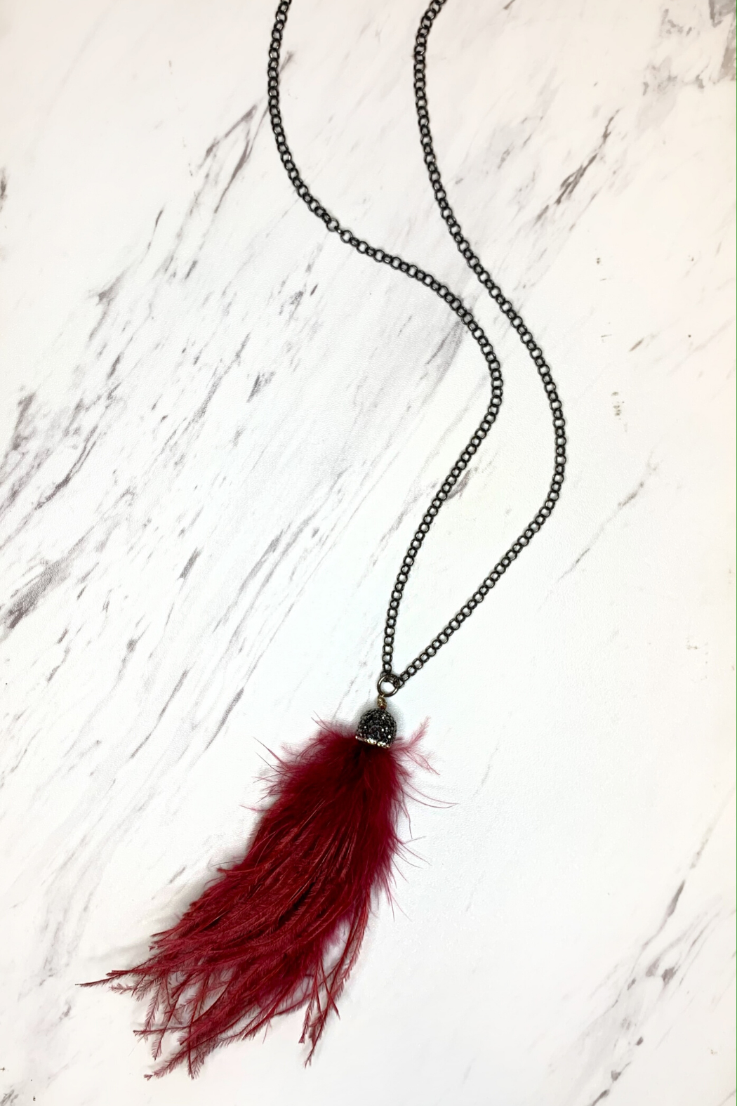 Deux Amies Peacock Feather Long Necklace - Front Cropped Image