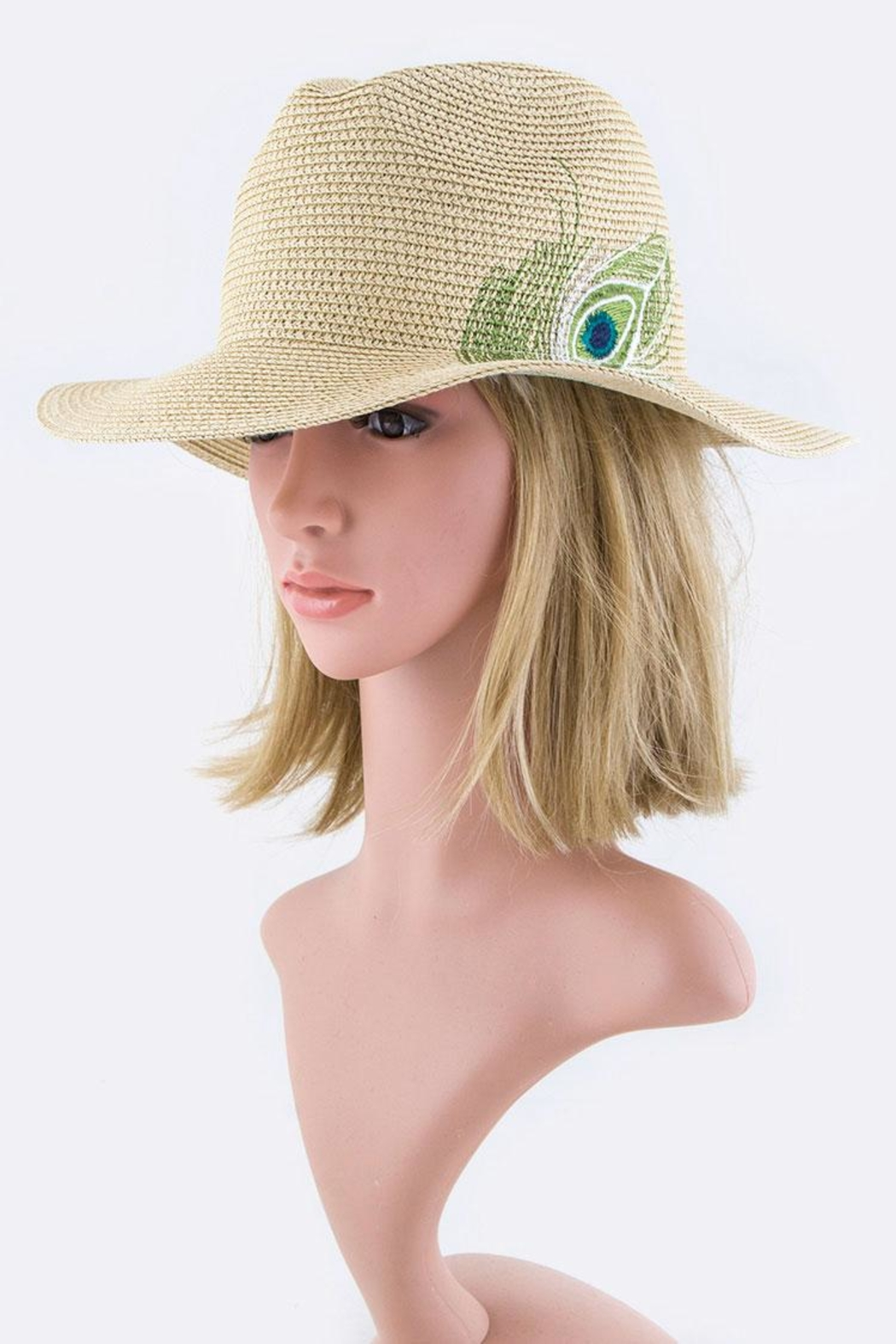 Nadya's Closet Peacock Feather Panama-Hat - Front Cropped Image