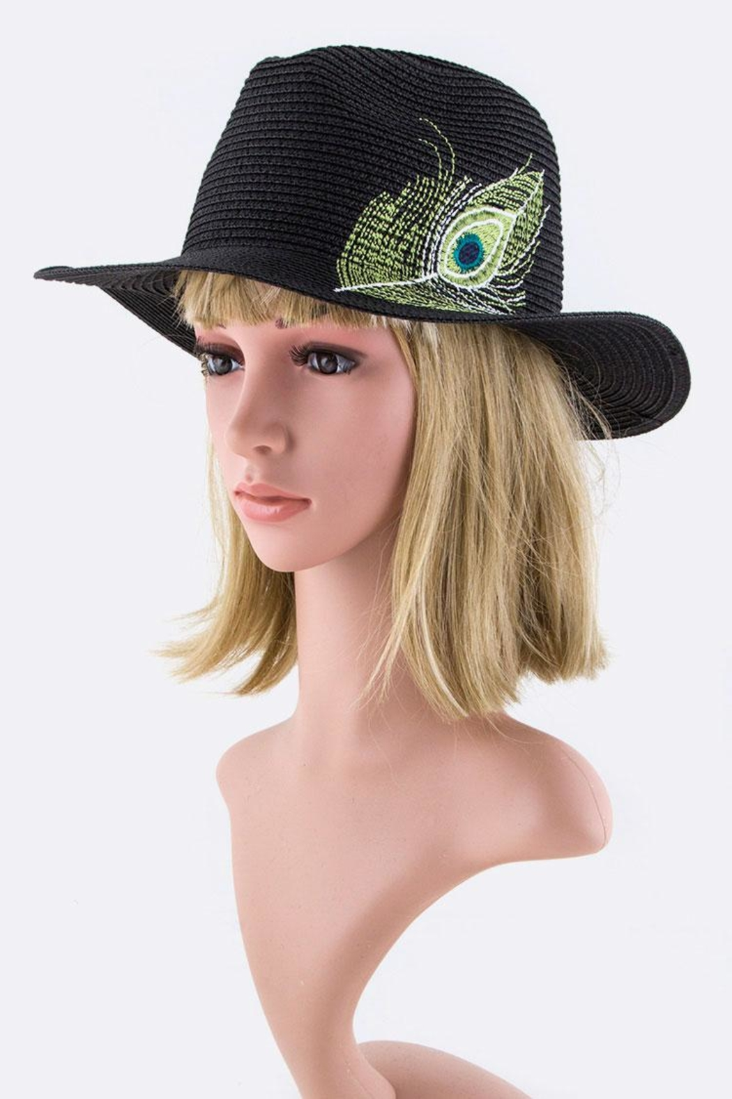 Nadya's Closet Peacock Feather Panama-Hat - Back Cropped Image