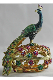 Kubla Crafts Peacock Trinket Box - Front cropped