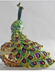 Kubla Crafts Peacock Trinket Box - Front full body