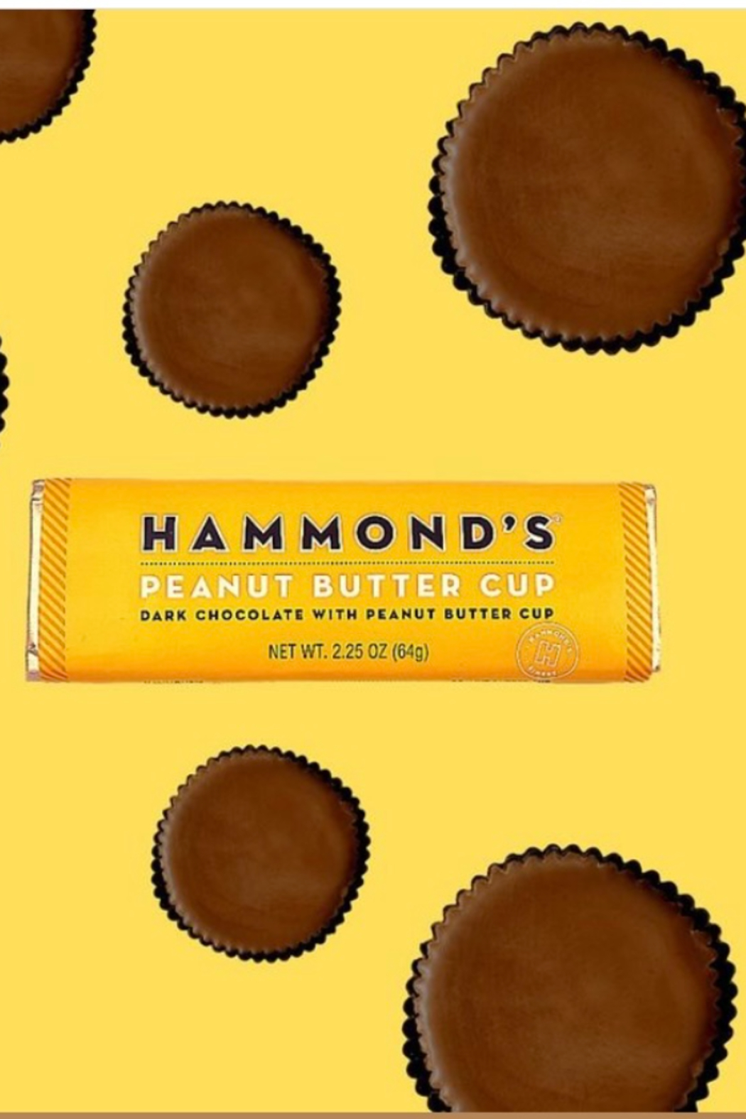 Hammond's Candies PEANUT BUTTER CUP DARK CHOCOLATE CANDY BAR - Front Full Image