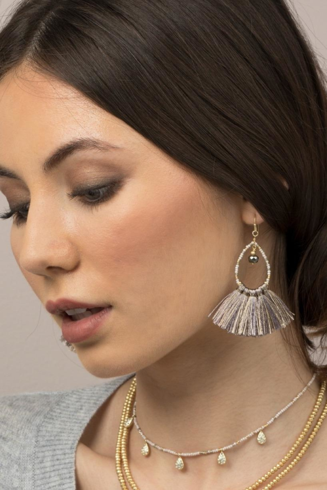 Spartina 449 Pear Fringe Earrings - Front Full Image