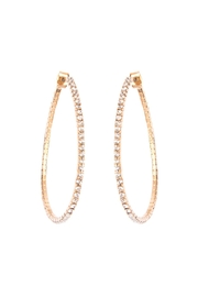 Riah Fashion Pear-Shape-Rhinestone Hoop-Earrings - Product Mini Image