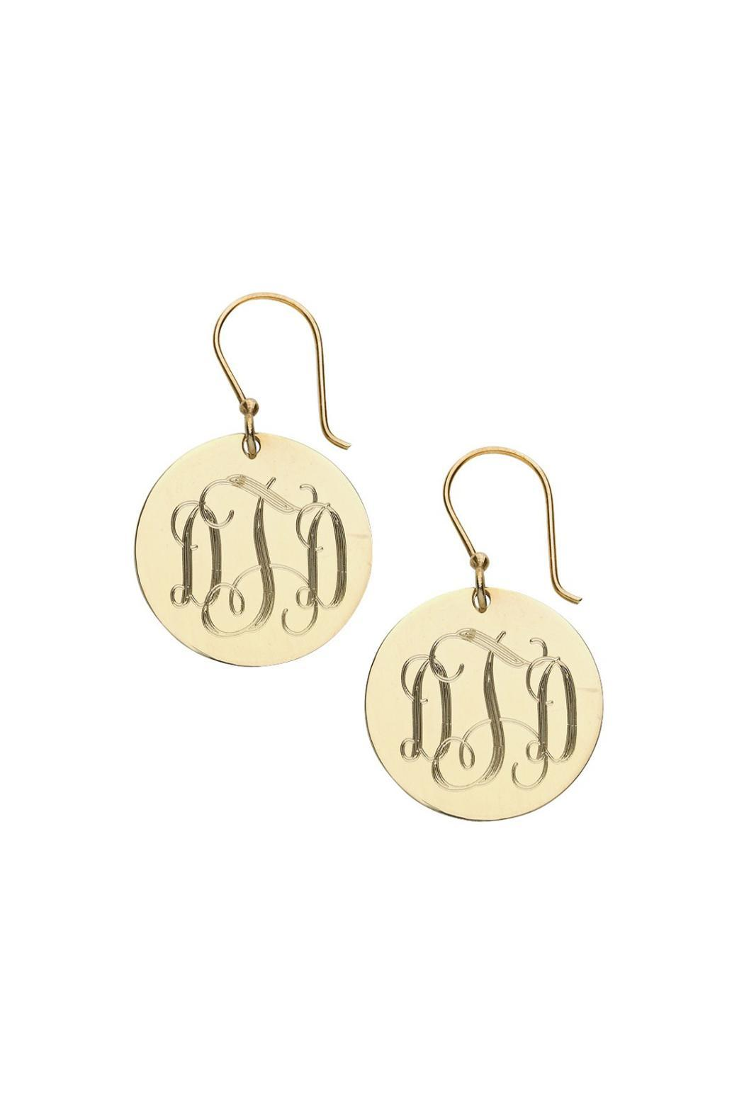 Pear Tree Paper And Gifts Gold Monogram Earrings Front Cropped Image