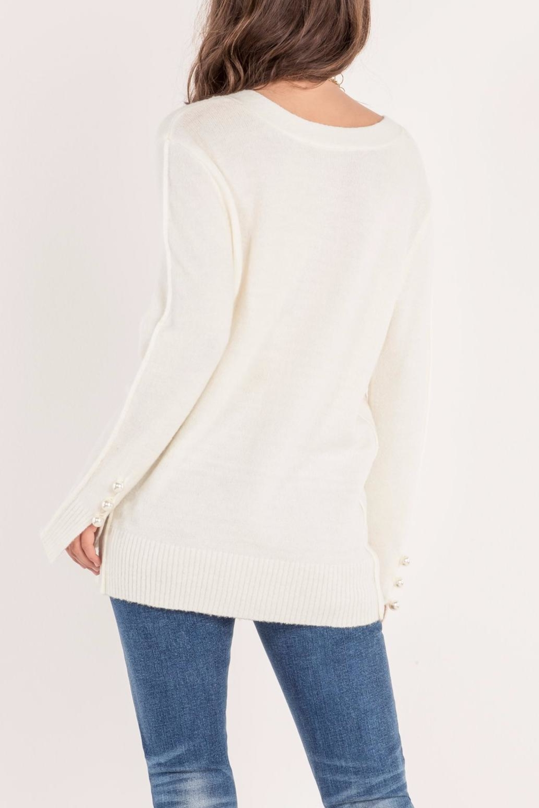 Miss Me Pearl Accent Sweater - Side Cropped Image