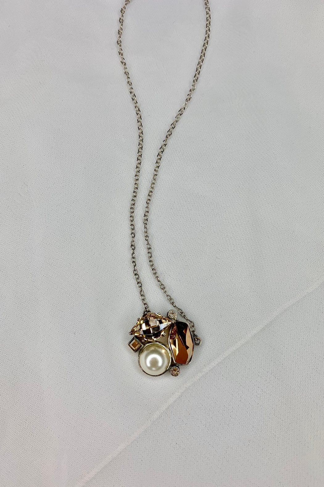 deannas Pearl And Amber Gemstone Necklace - Main Image
