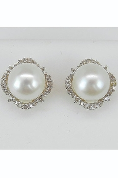 Margolin & Co Pearl and Diamond Halo Stud Earrings 14K White and Yellow Gold June Birthstone Wedding Studs - Product List Image