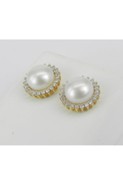 Margolin & Co Pearl and Diamond Halo Stud Earrings 14K Yellow Gold June Birthstone Wedding Studs - Side cropped