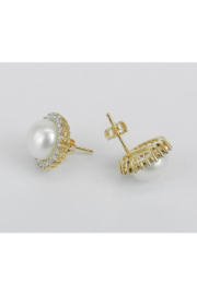 Margolin & Co Pearl and Diamond Halo Stud Earrings 14K Yellow Gold June Birthstone Wedding Studs - Other
