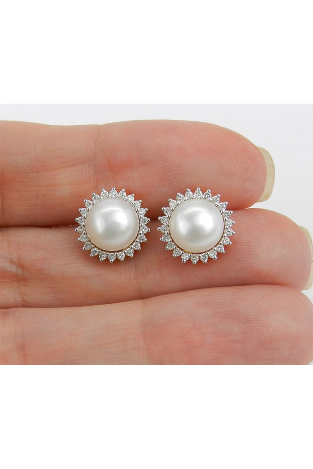 Margolin & Co Pearl and Diamond Halo Stud Earrings 14K Yellow Gold June Birthstone Wedding Studs - Back Cropped Image