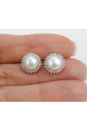 Margolin & Co Pearl and Diamond Halo Stud Earrings 14K Yellow Gold June Birthstone Wedding Studs - Back cropped