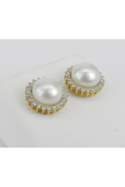 Margolin & Co Pearl and Diamond Halo Stud Earrings 14K Yellow Gold June Birthstone Wedding Studs - Front full body