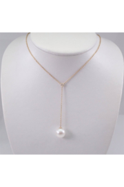 Margolin & Co Pearl and Diamond Lariat Necklace 14K Yellow Gold Wedding Pendant Chain 13.5 mm - Product Mini Image