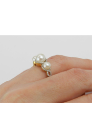 Margolin & Co Pearl and Diamond Ring, Halo Engagement Ring, Yellow Gold Three Stone Ring, Pearl Engagement Ring, June Birthstone Ring, Pearl Ring - Other