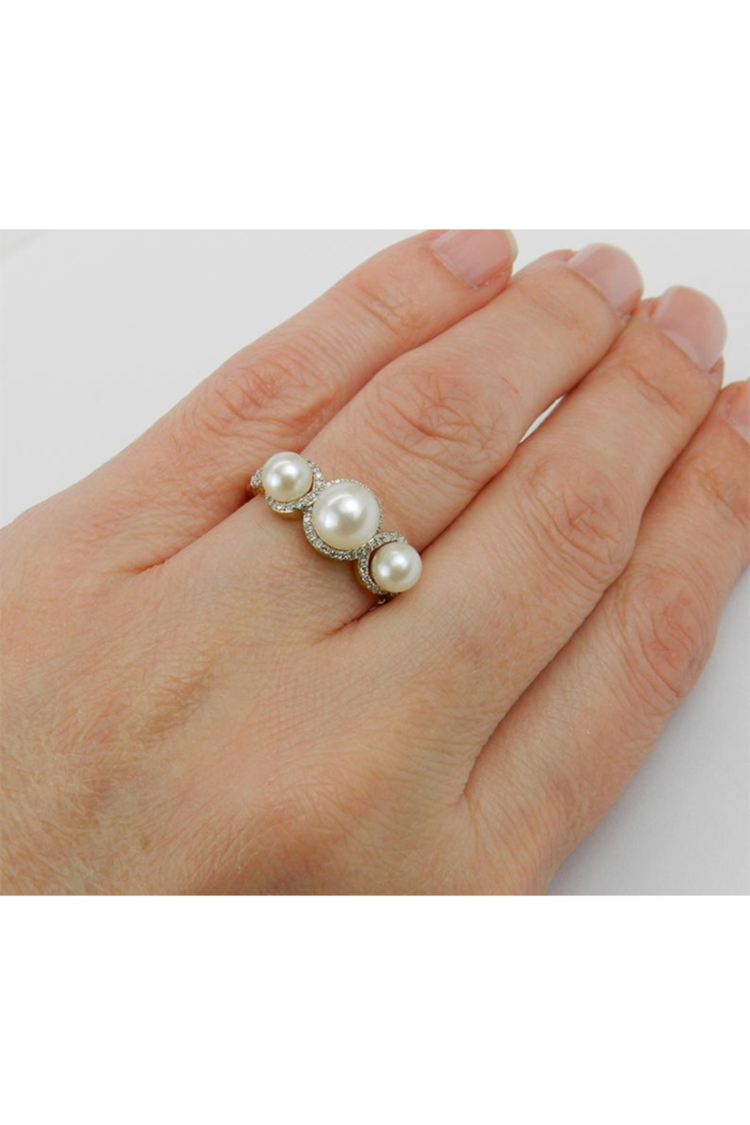 Margolin & Co Pearl and Diamond Ring, Halo Engagement Ring, Yellow Gold Three Stone Ring, Pearl Engagement Ring, June Birthstone Ring, Pearl Ring - Main Image