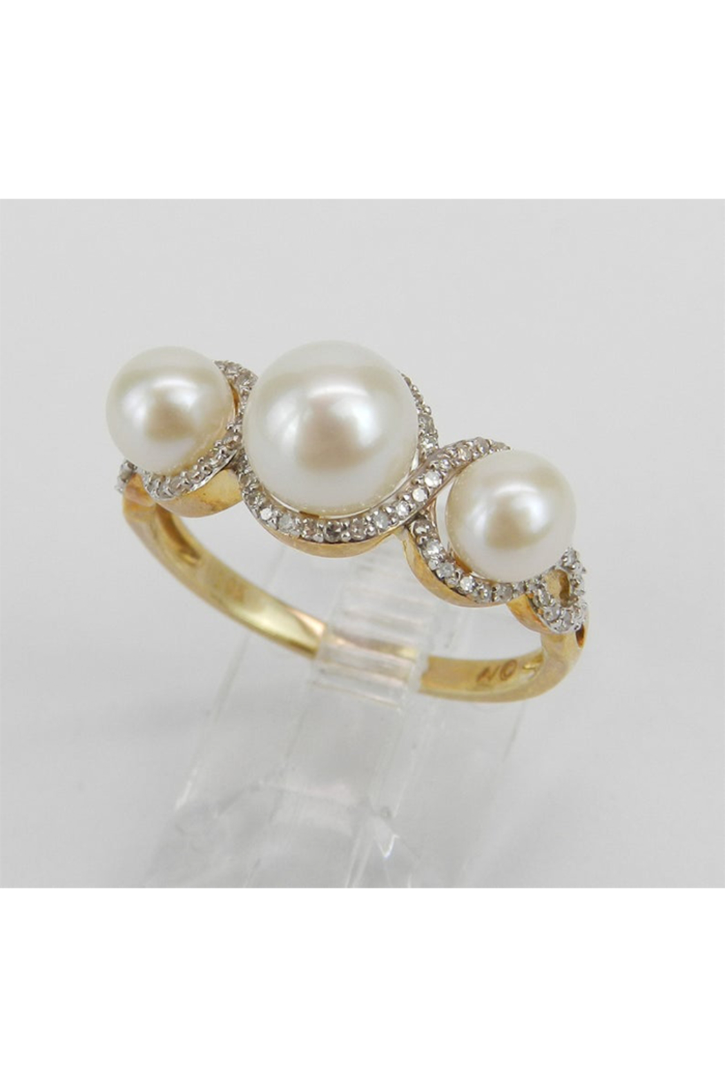 Margolin & Co Pearl and Diamond Ring, Halo Engagement Ring, Yellow Gold Three Stone Ring, Pearl Engagement Ring, June Birthstone Ring, Pearl Ring - Back Cropped Image