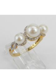 Margolin & Co Pearl and Diamond Ring, Halo Engagement Ring, Yellow Gold Three Stone Ring, Pearl Engagement Ring, June Birthstone Ring, Pearl Ring - Side cropped