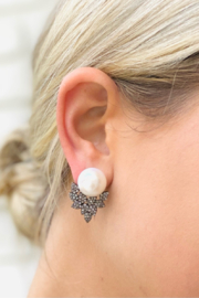 The Woods Fine Jewelry  Pearl and Pave Earrings - Product Mini Image