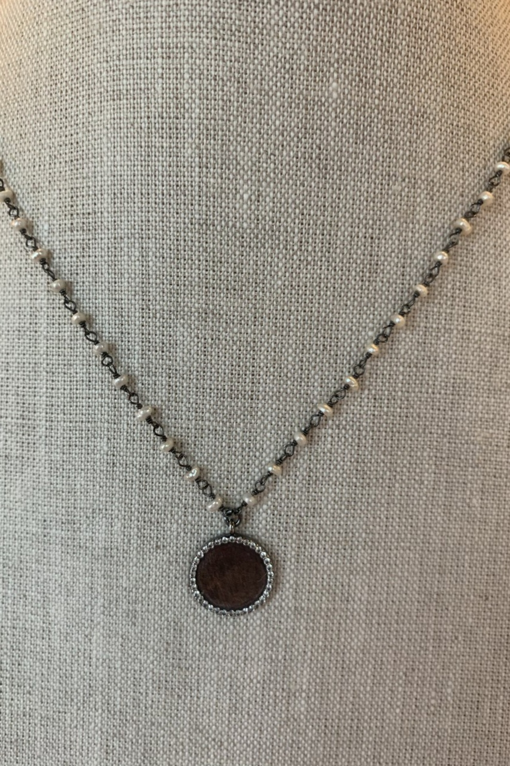 Ela Rae Pearl and rhodium necklace with  Antique Pave trim Disc - Main Image