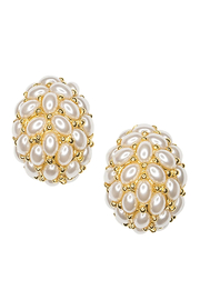 Kenneth Jay Lane Pearl Cabochon Hoop Clip Earrings - Product Mini Image