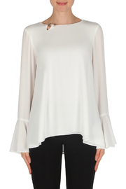 Joseph Ribkoff Pearl Detail Bell Sleeve Blouse - Product Mini Image