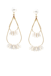 US Jewelry House Pearl Double Hoop Earrings - Product Mini Image