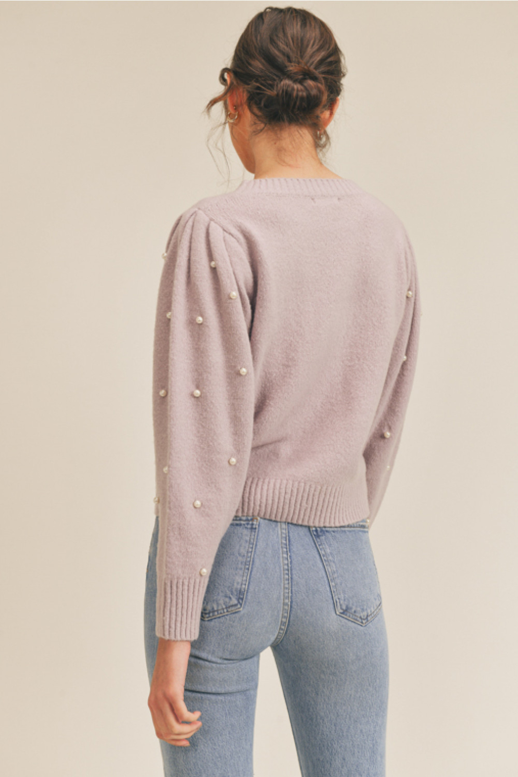 Lush  Pearl Embellished Sweater - Front Full Image