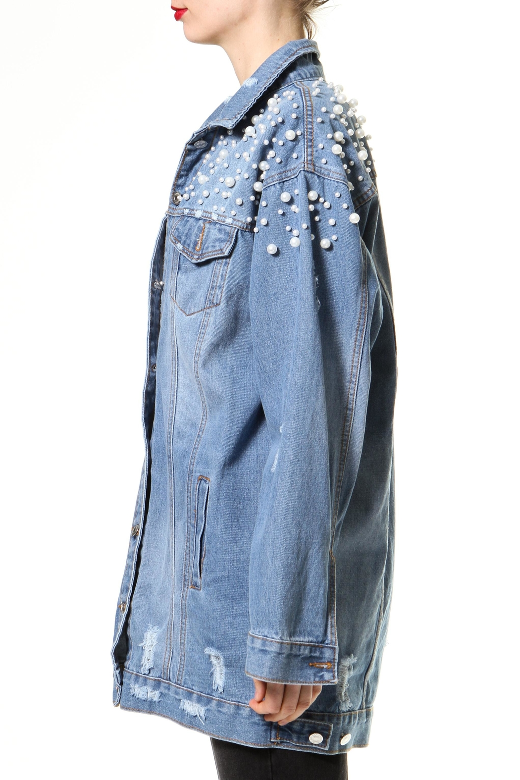 Madonna & Co Pearl Jean Jacket - Front Full Image